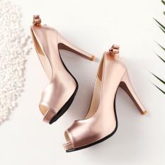 Berlian imitasi tahan air ultra halus dengan sepatu heels kepala ikan sepatu tunggal (Sampanye)