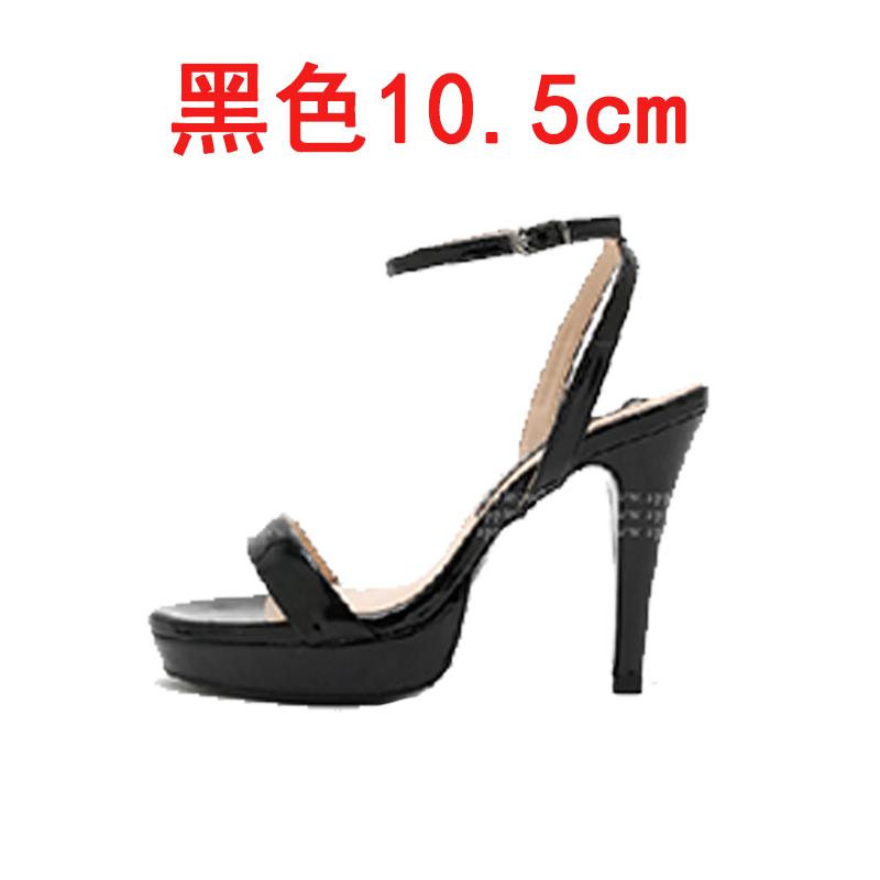 Bertumit tinggi baik dengan tahan air Taiwan kata gesper sandal (Hitam 10.5 cm)