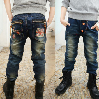 Berwarna terang anak Korea Fashion Style kasual celana anak laki-laki celana jeans (Bendera