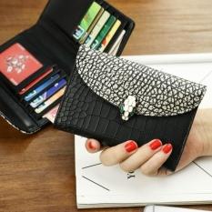 Besar Eropa dan Amerika kulit perempuan penyelundup kecil nol wallet wallet (Hitam (pola kulit