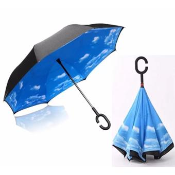 BEST Payung Terbalik Gagang C Reverse Umbrella Payung Lipat / Mobil - 02 BLUE SKY