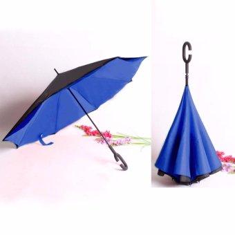 BEST Payung Terbalik KAZBRELLA 01 Gagang C Reverse Umbrella PayungLipat / Mobil - BIRU NAVY