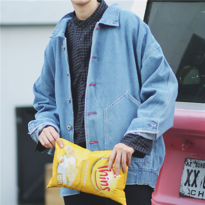 BF Musim Semi dan Gugur Korea pria Slim jaket denim jaket denim mantel (Cahaya biru