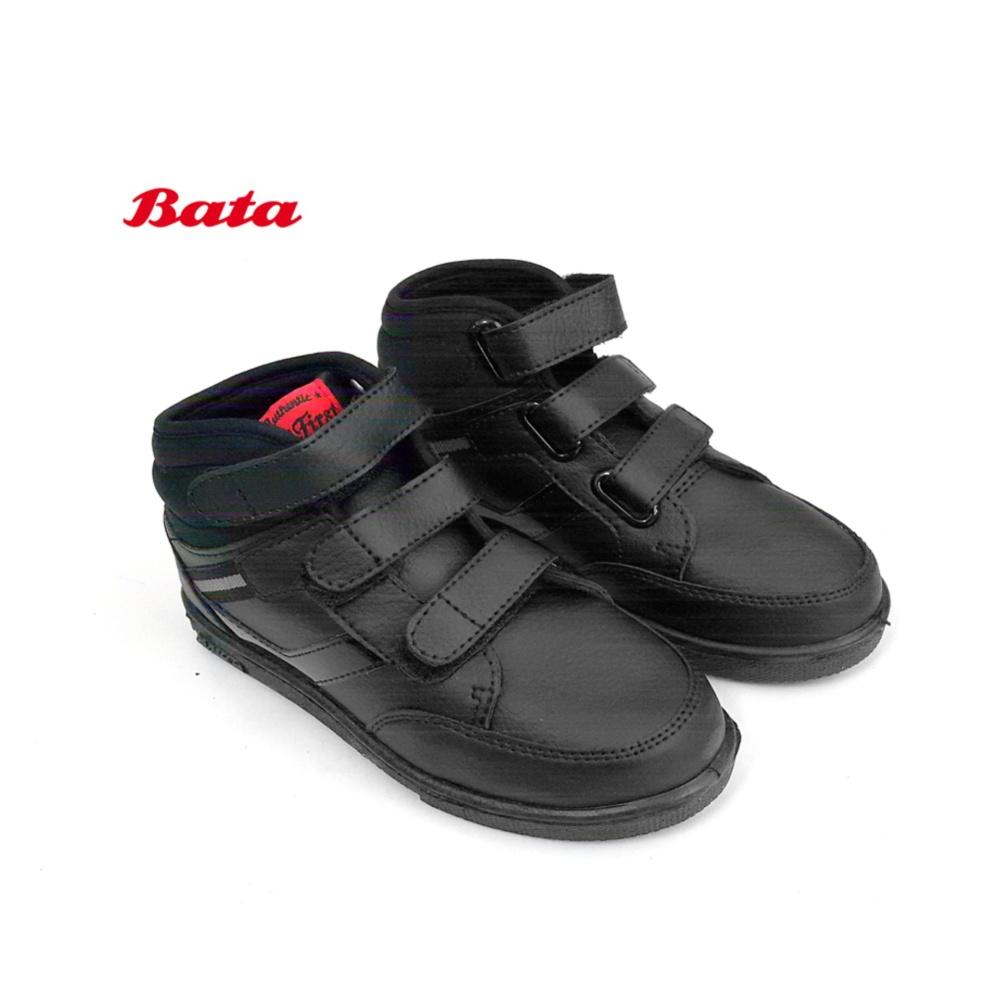 B.FIRST Sepatu Sekolah Anak Laki-laki Boots Kreket 6008 Hitam Polos