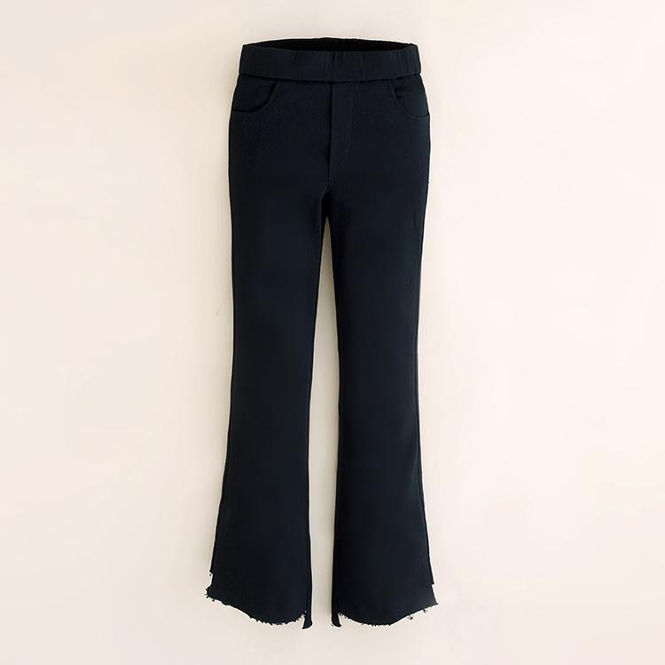 Black Slim fit slimming sheath boot cut pants ankle length pants Hitam .