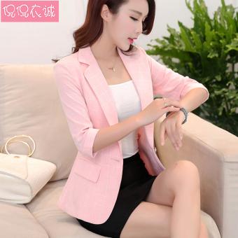 Gambar Blazer Wanita Model Pendek Lengan 7 8 Pas Badan Model Korea (Merah muda)