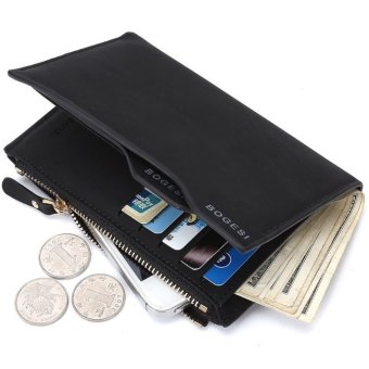 BOGESI Men Pria Wallet With phone and Coin Bag Man Purse Color - Hitam