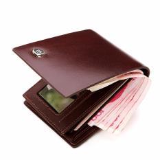 Bostanten Dompet Kulit Sapi Lipat Dua untuk Pria dengan Kantong Lipatan Mewah untuk Kartu Kredit (Coklat) - intl