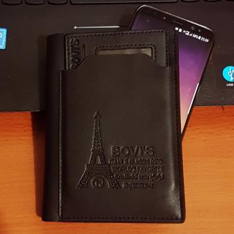Bovis PU Leather Wallet Dompet Pria 6 Inchi 1382-4 Bifold OriginalImport - Black - 4