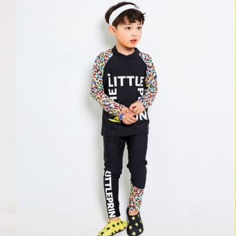 Boys Children Swimwear Colorful Print Long Sleeve Rashguard RashGuard Tops With Black Swimming Pants Fashion Diving