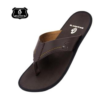 Brandy's - Devian Sandal Kulit Pria - Dark Brown