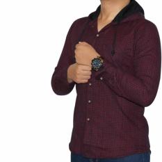 Bsg_Fashion1 Kemeja Flanel Hoodie Navy Pria Lengan Panjang Kotak Kecil/ Kemeja Pantai/Kemeja Pria