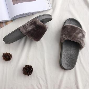 Busana bulu pakaian luar kata tarik sandal (Mewah abu-abu)