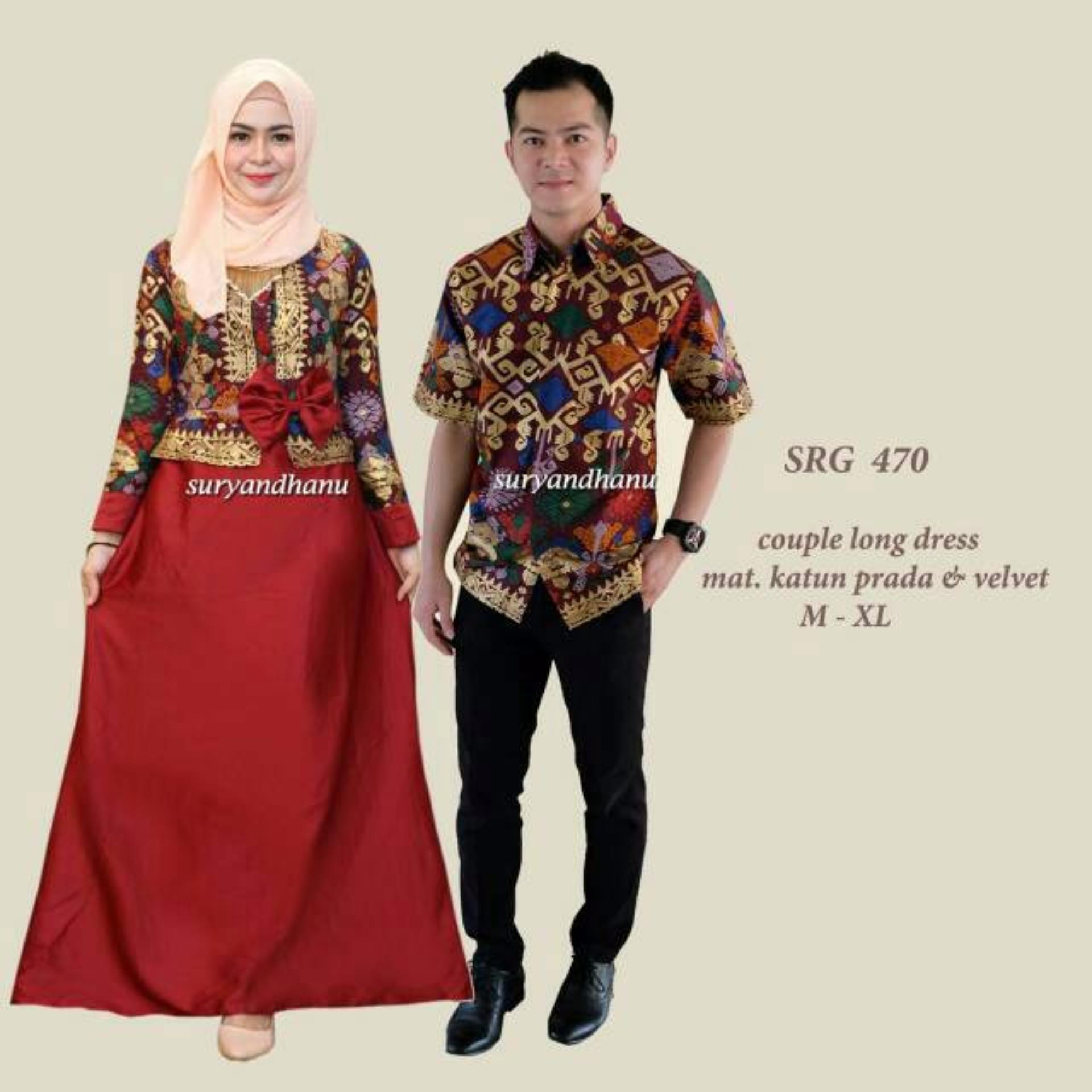 ... Busana Muslim Batik - Baju Gamis Batik Sarimbit Suryadhanu Couple ...