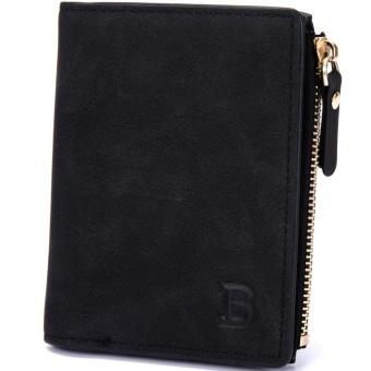 Busana pria dompet paragraf pendek PU kulit dompet Virtical bagian saku dompet - hitam - 2