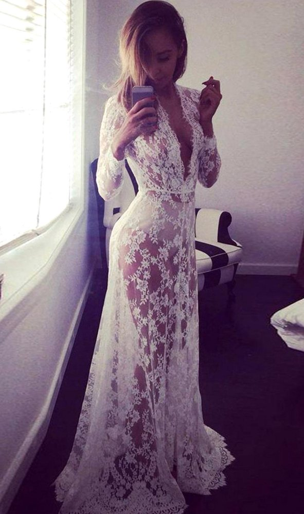 C1S Deep V Neck Elastic HighWaist Sheer Lace Long Dress - intl