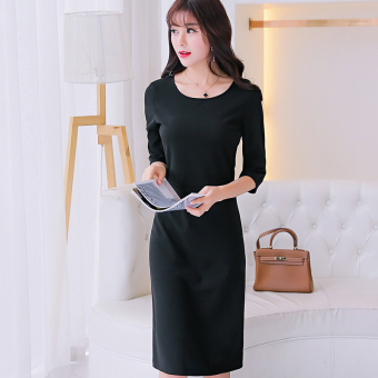 Caidaifei Korean-style Slim fit slimming base skirt half-sleeve shirt knit dress (