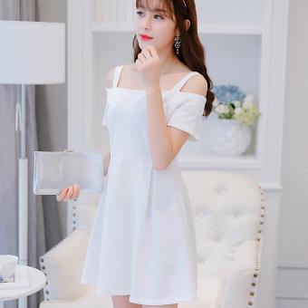 CALAN DIANA Gaun Terusan Wanita Bertali Rajutan Satu Warna Versi Korea ( Putih)