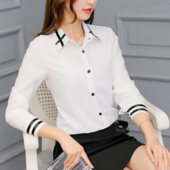CALAN DIANA Kemeja Wanita Pas Badan Bahan Sifon Lengan Panjang Warna Putih ( Putih)