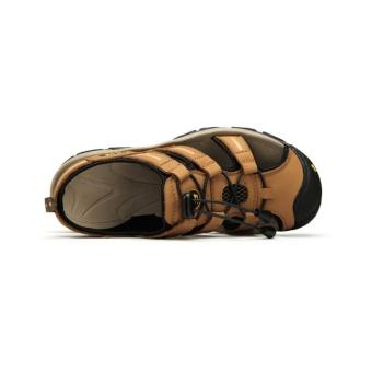 Harga Camel Men s Daily Outdoor Leisure Sandals Cow Leather  BeachShoes(Yellow) intl Terbaru 874538aca0