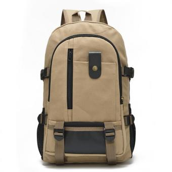 Canvas Backpack Men Rucksack Bookbag for School Travel hiking and camping bag Light Khaki - Intl