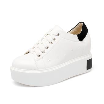 Jual Carrefour sepatu Korea Fashion Style perempuan mantra warna meningkat kebugaran sepatu kasual yang berat itu platform shoes (Hitam) Terpercaya