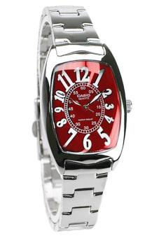 Casio Jam Tangan Wanita Analog - Merah Silver - Strap Stainless -LTP-1208D-