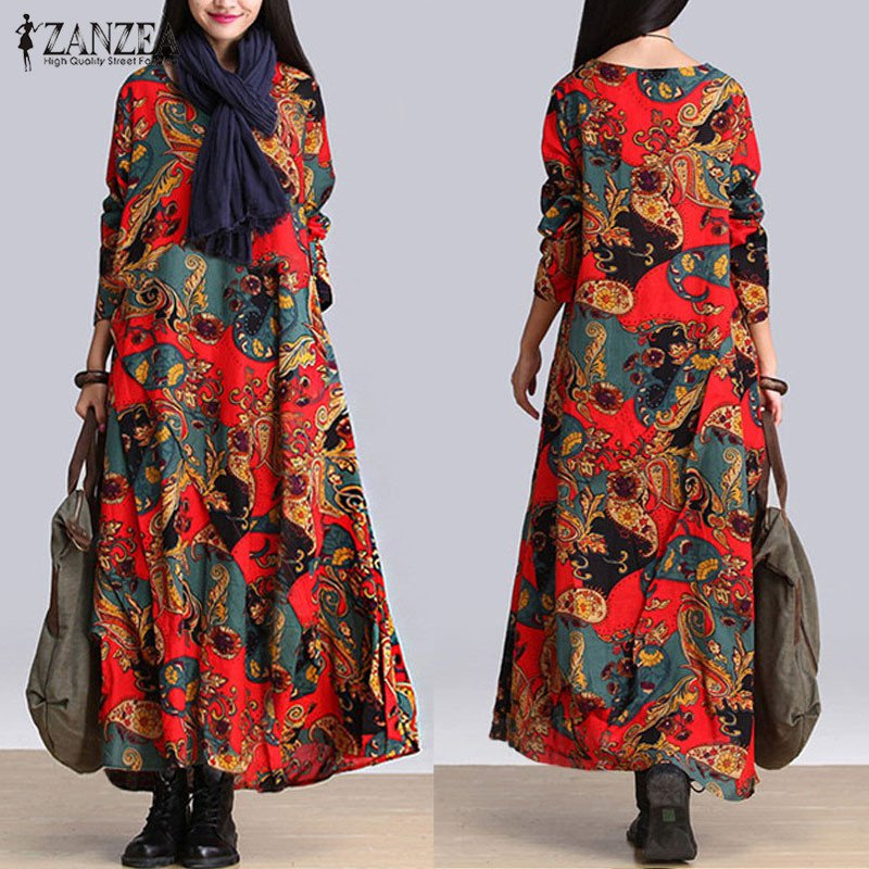 ... Casual Loose Long Sleeve ZANZEA O-Neck Oversized Baggy Dresses Robe Vestidos Women Vintage Floral ...