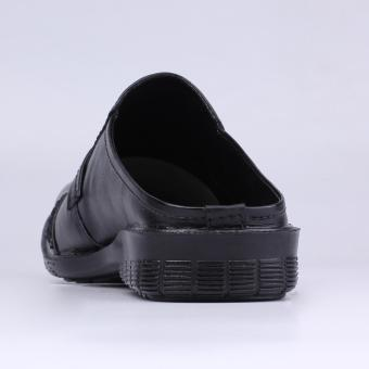 Catenzo Sandal Pantofel Kulit Pria Sepatu Sandal YA 042 Hitam .