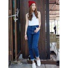 Celana Boyfriend Jeans Wanita Navy Plano Boy-Navy