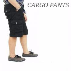 Celana cargo pendek pria Blackfield/three denim - HItam