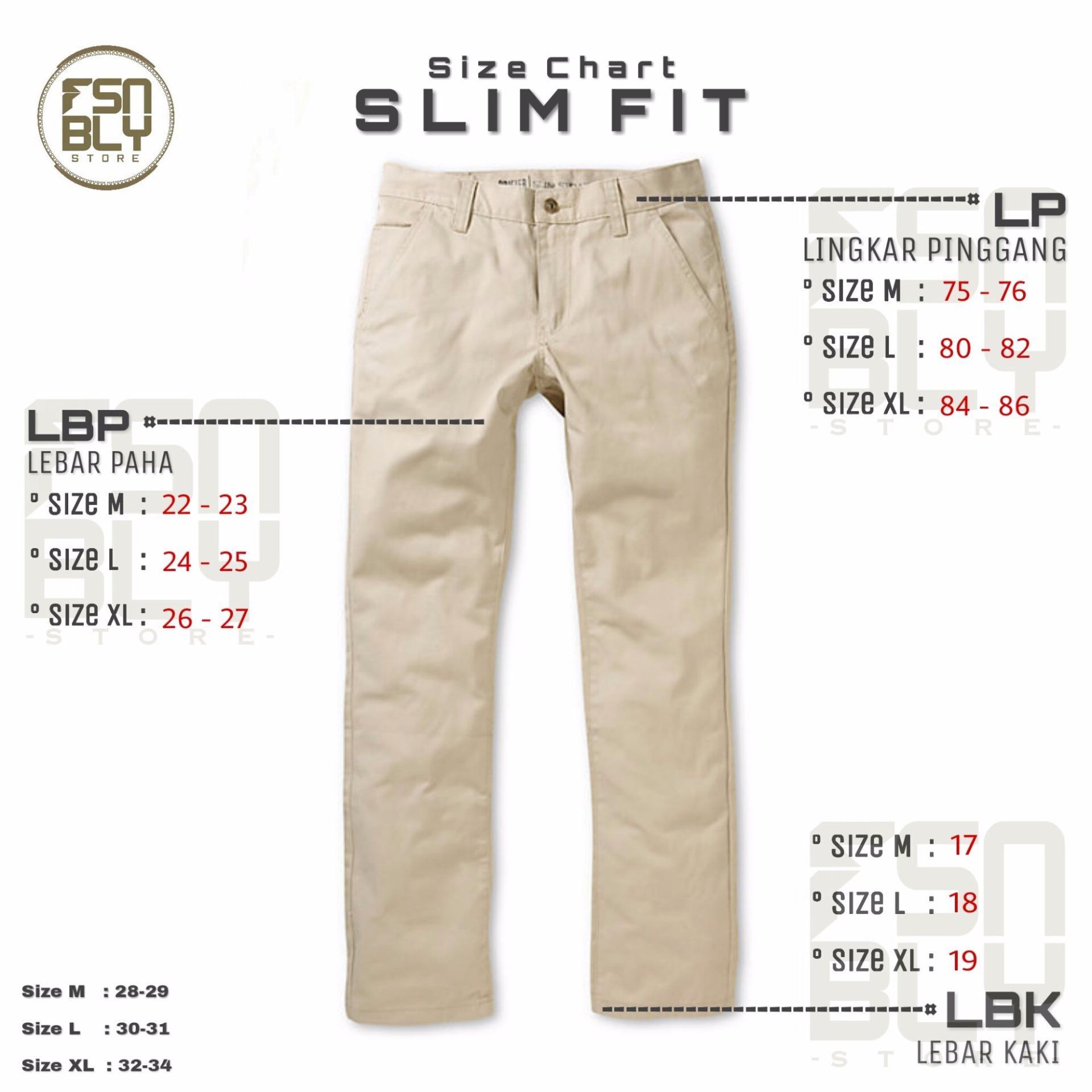 Celana Chino Pants Pria Cream Slim Fit - Premium Quality ...