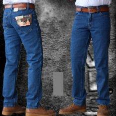 Celana Jeans Pria Reguler Standar Bahan Tidak Melar - Biru Gelap