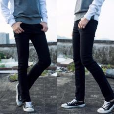 Celana jeans pria slimfit Hitam