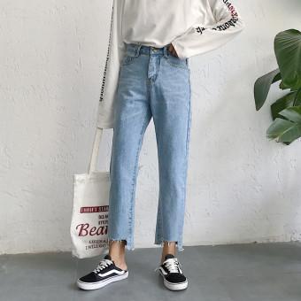 Celana Jeans Wanita Sepersembilan Pinggang Tinggi Lurus Tidak Beraturan Versi Korea (Cahaya biru)