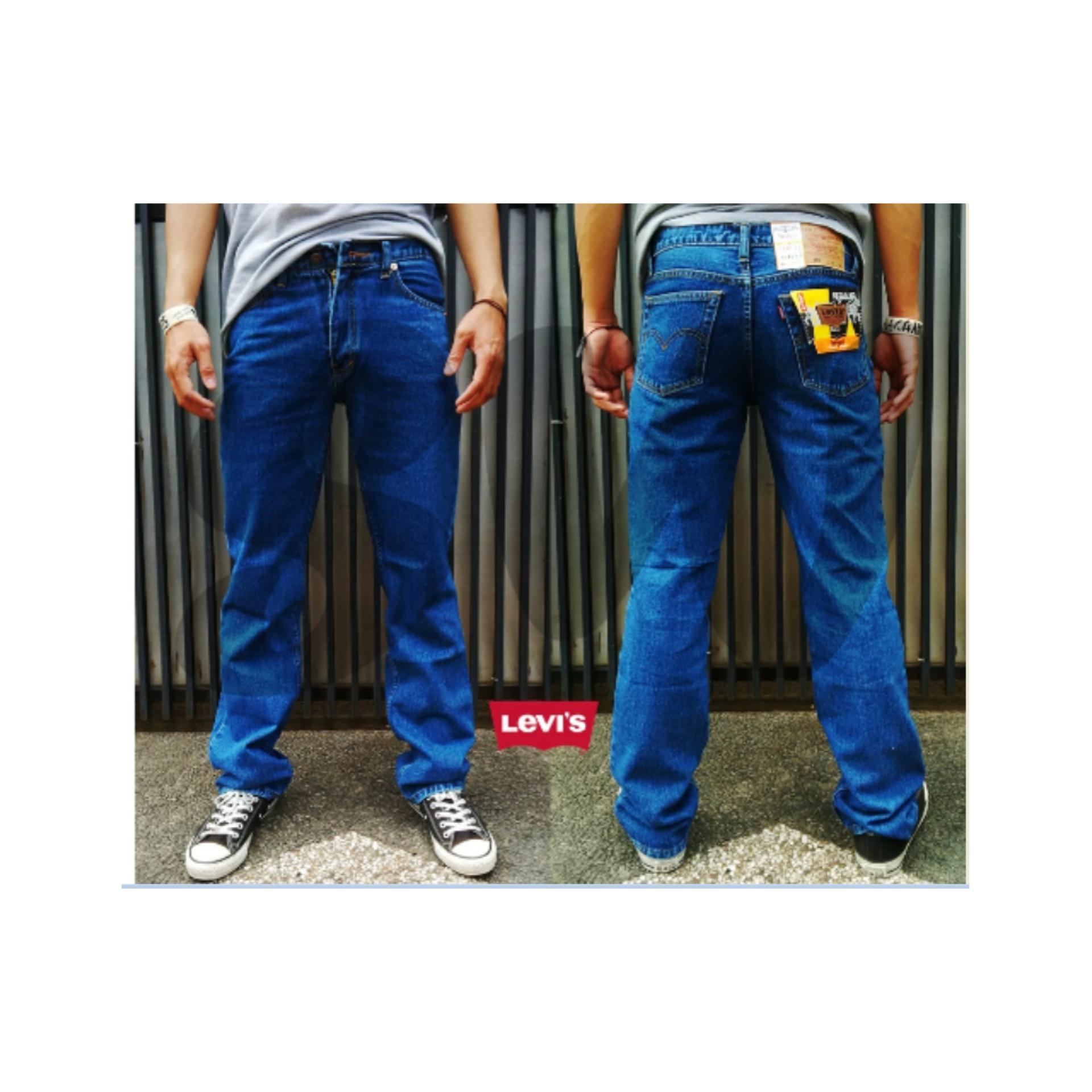 Online Murah Celana Levis Jeans Biowash Bio Wash Biru Tua Standar Fashion Panjang Keren
