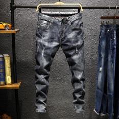 Celana Pensil Jeans Pria Sepersembilan Berlubang Membentuk Tubuh Model Tipis Versi Korea (9610-1