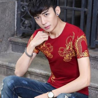 Kapas Grand Prix Eropa ... Source · Chaonan leher bulat Slim dicetak pemuda kemeja t-shirt (Ssangyong merah)
