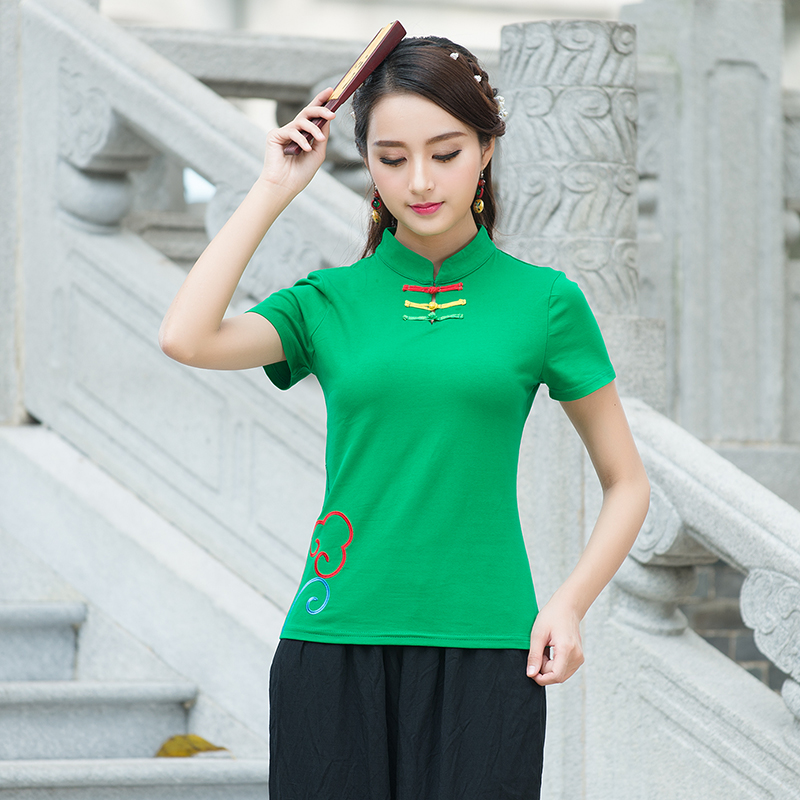 Chinese-style Jianyue elegant short sleeved Top plate buttons retro costume (Hijau)