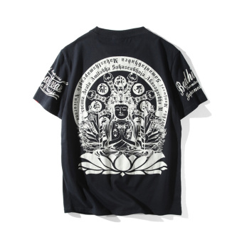 Chinese-style summer printed Guanyin short sleeved t-shirt (Hitam)