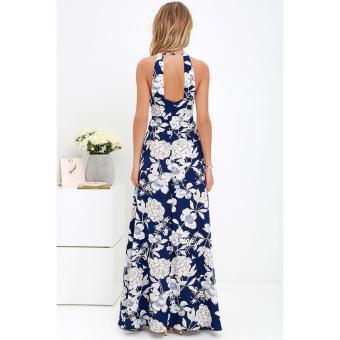 cicilia dress fashion wanita cantik-bunga biru