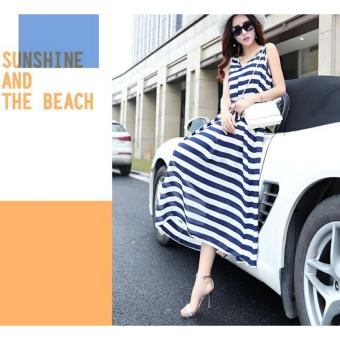 cicilia dress fashion wanita cantik-strip biru