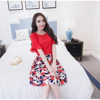 cicilia setelan fashion wanita cantik-setelan bunga merah
