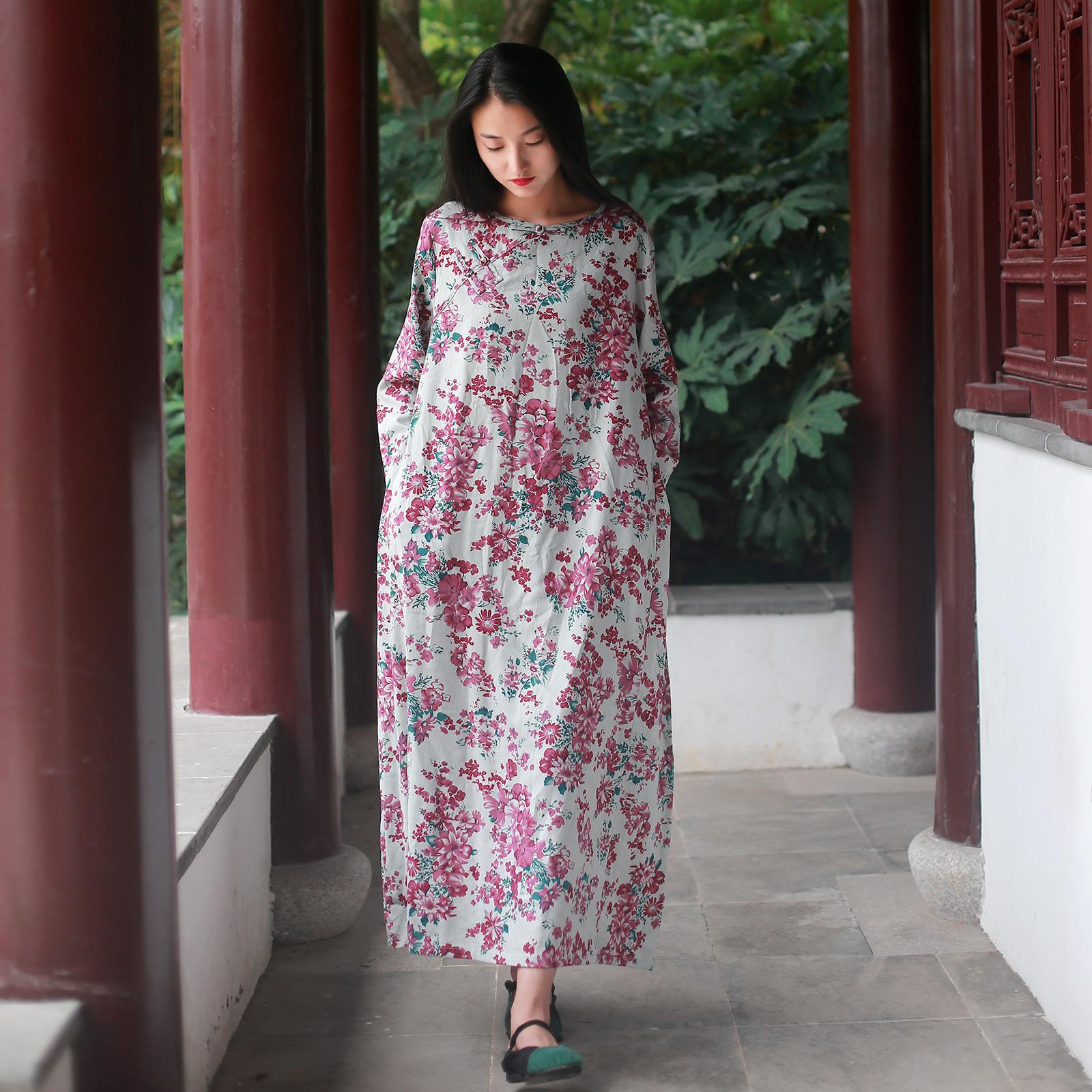 Cina tombol piring katun lengan panjang segar gaun biasa (Qinghui warna (camellia tombol bulat