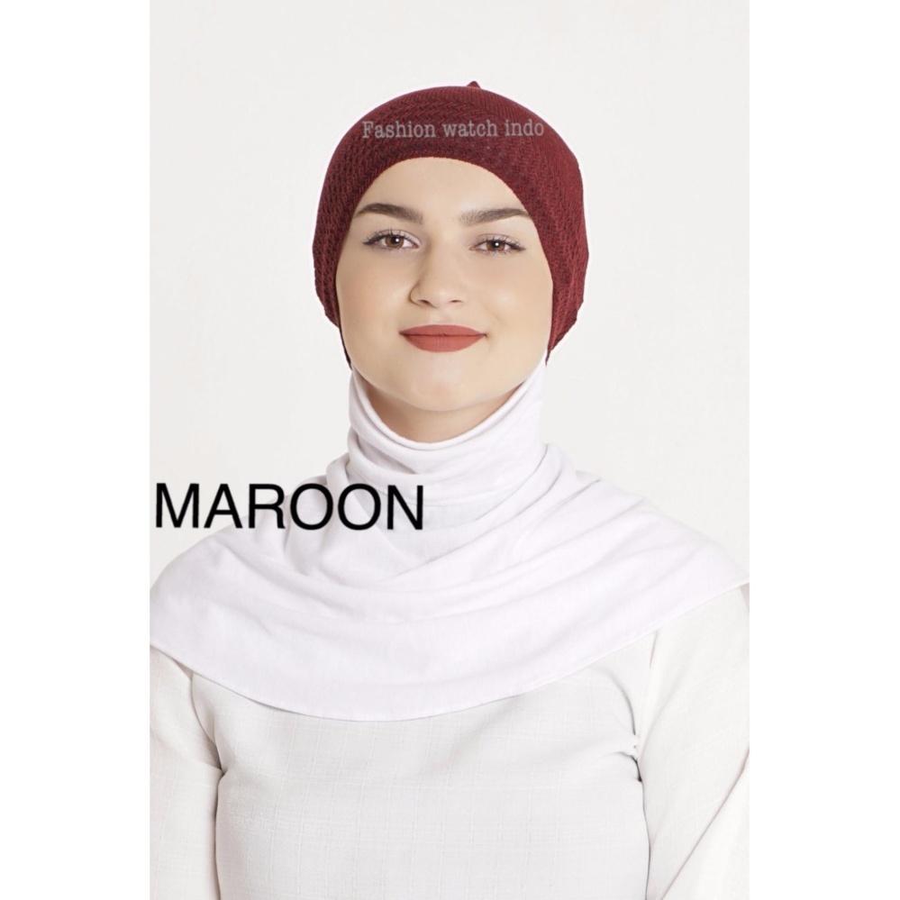 Basic Inner Bandana Rajut Polos Ciput Daleman Jilbab Anti Pusing Llinner Isi 6pcs Hitam Putih Pink Navy Maroon