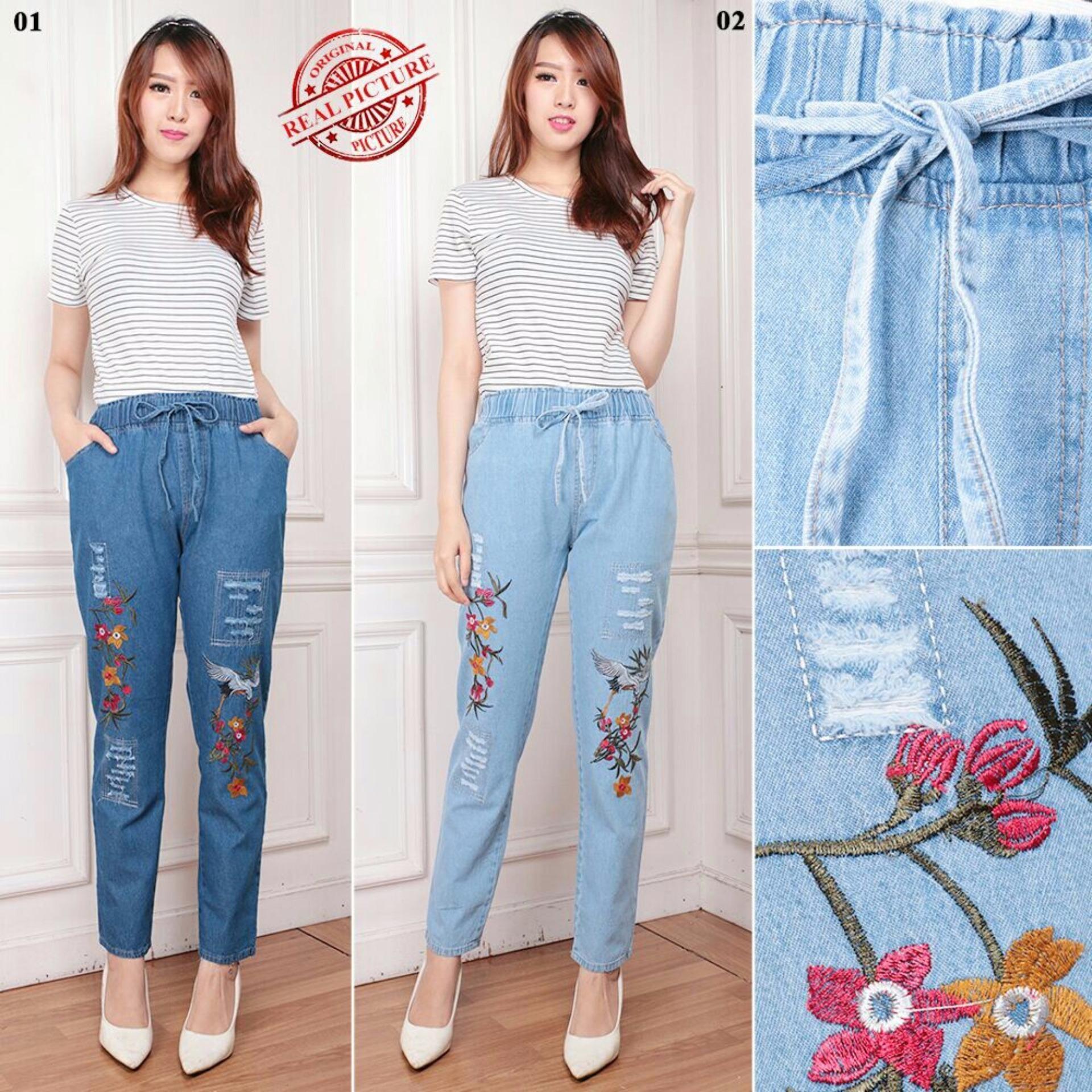 Cj collection Celana jeans panjang wanita jumbo long pant Floxi - 01 biru tua