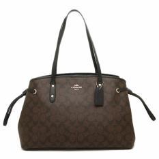 Coach Signature Drawstring Carryall Shoulder Bag - Coffee