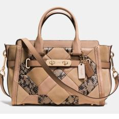 Coach Swagger 27 Beechwood Patchwork Exotic Embossed Leather Authentic 37188
