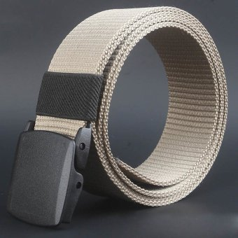 Coconie Wild-Men-Canvas-Belt-Hypoallergenic-Metalfree-Plastic-Automatic-Buckle Khaki