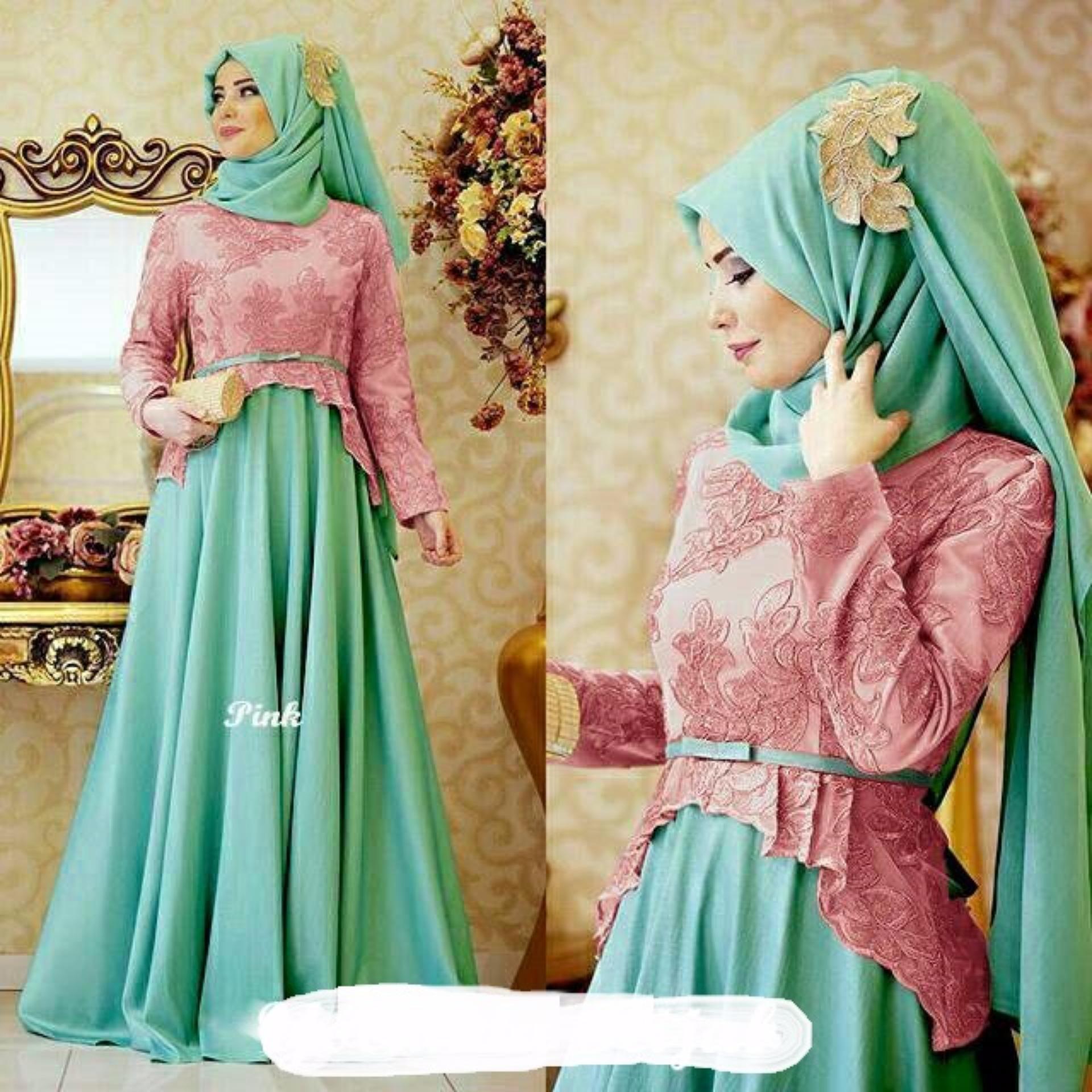 couple store cs - dress muslim elegant cerlina pink (bahan tebal ,strech , bagus